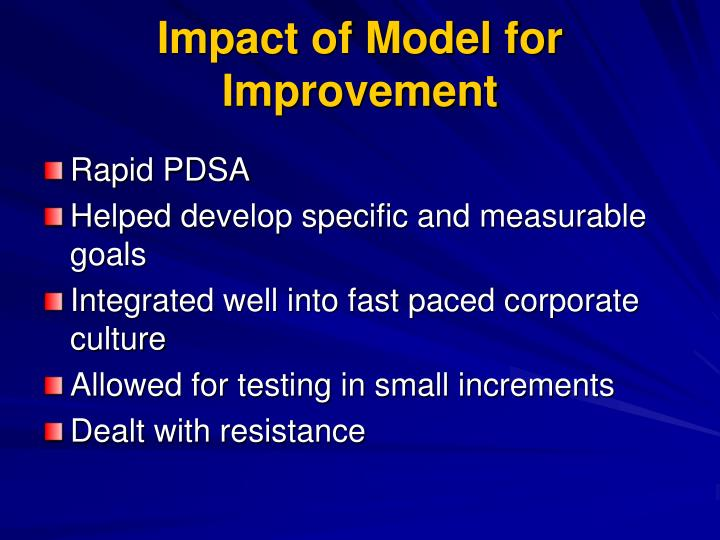 Impact of Model for Improvement