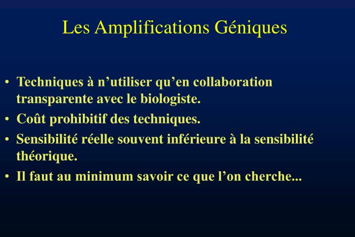 Les Amplifications Géniques