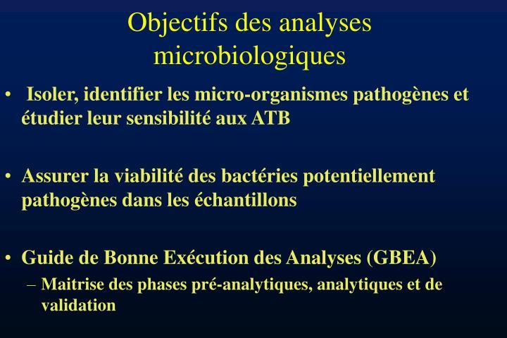 Objectifs des analyses microbiologiques