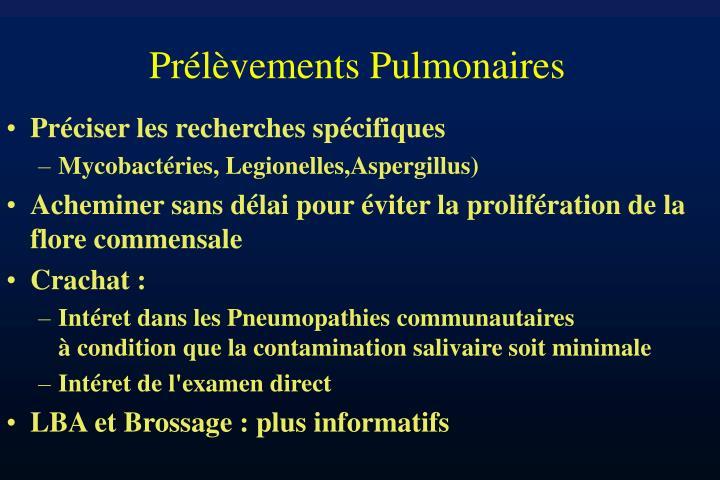 Prélèvements Pulmonaires