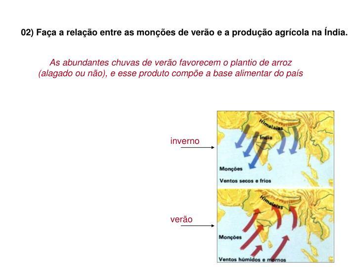 02) Faça a relação entre as monções de verão e a produção agrícola na Índia.