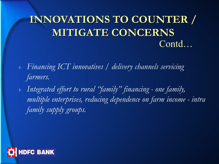 INNOVATIONS TO COUNTER / MITIGATE CONCERNS