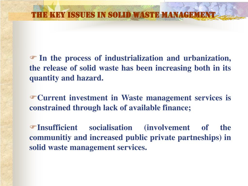 The key issues in solid waste management