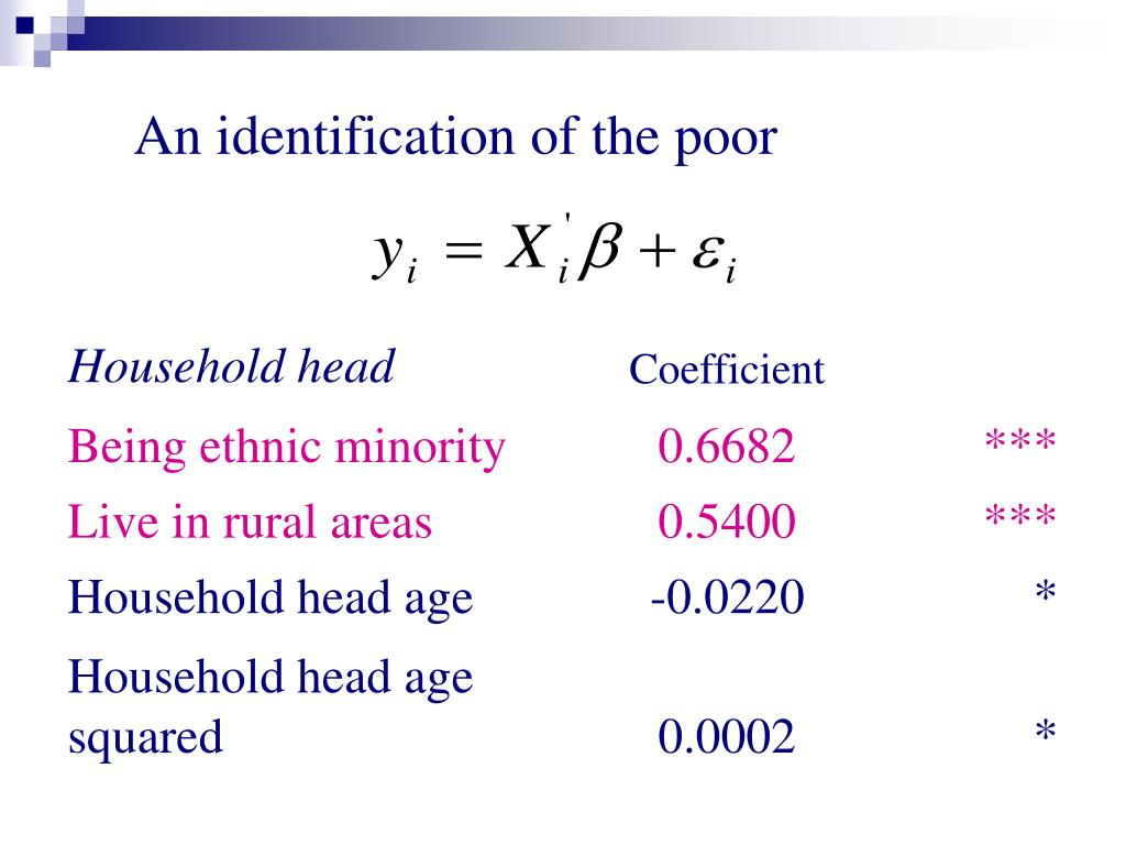 An identification of the poor