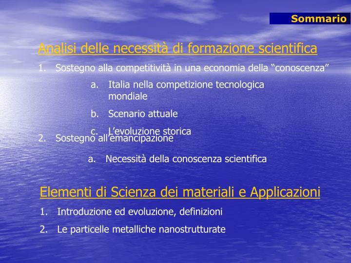 Analisi delle necessità di formazione scientifica
