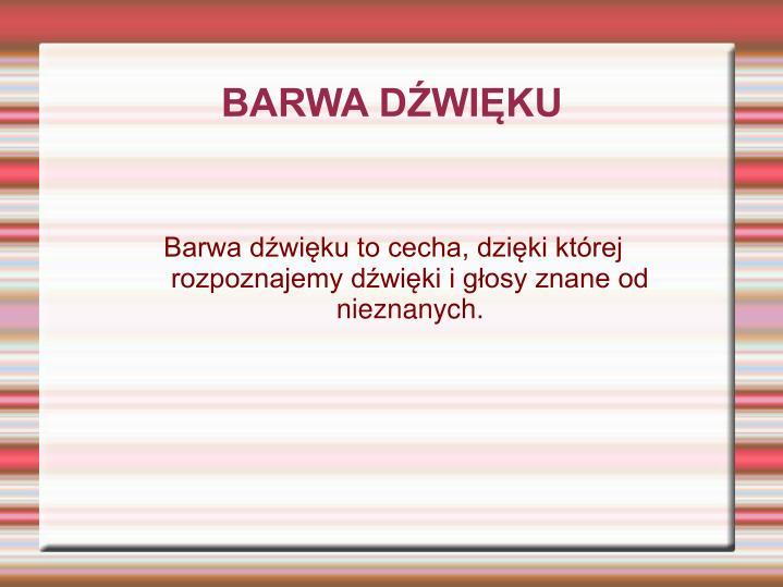 BARWA DŹWIĘKU