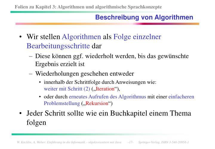 Beschreibung von Algorithmen