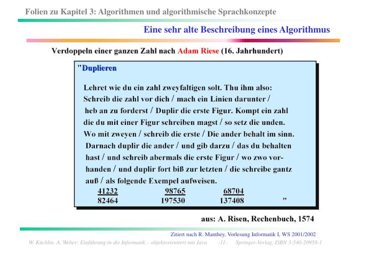 Eine sehr alte Beschreibung eines Algorithmus
