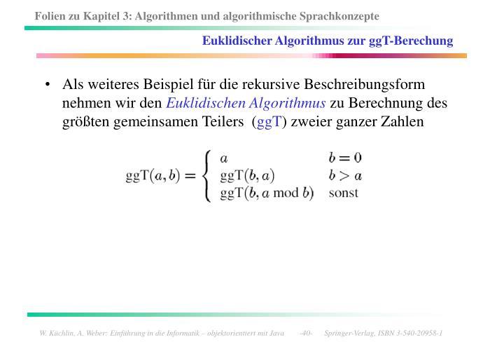 Euklidischer Algorithmus zur ggT-Berechung