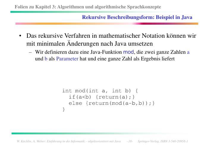 Rekursive Beschreibungsform: Beispiel in Java