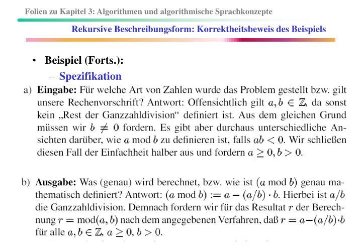 Rekursive Beschreibungsform: Korrektheitsbeweis des Beispiels