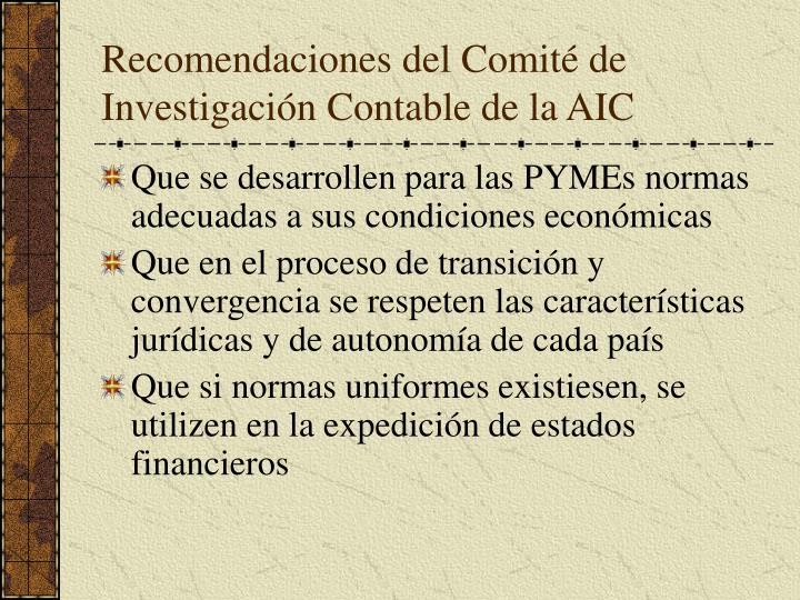 Recomendaciones del Comité de Investigación Contable de la AIC