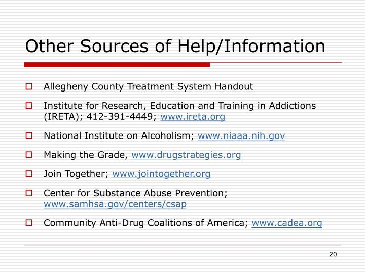Other Sources of Help/Information