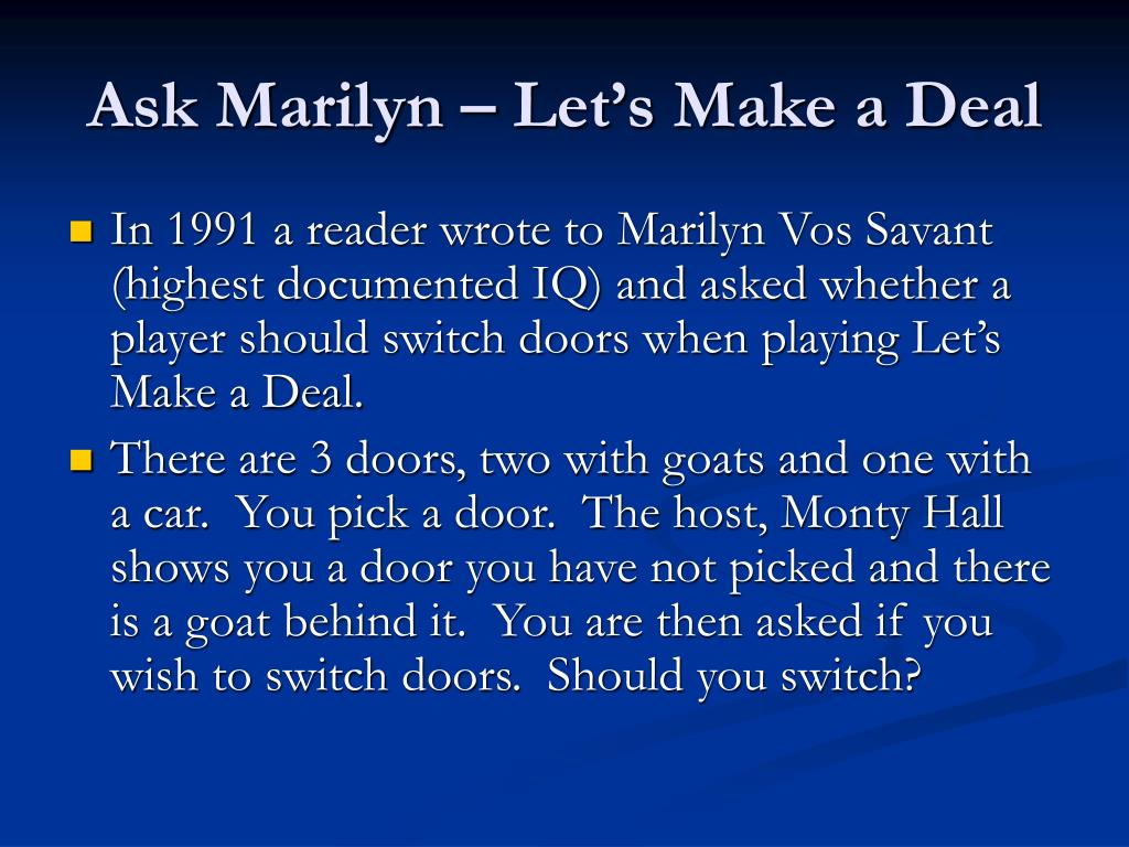 Ask Marilyn – Let's Make a Deal