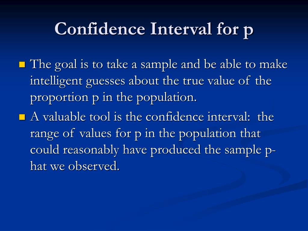 Confidence Interval for p