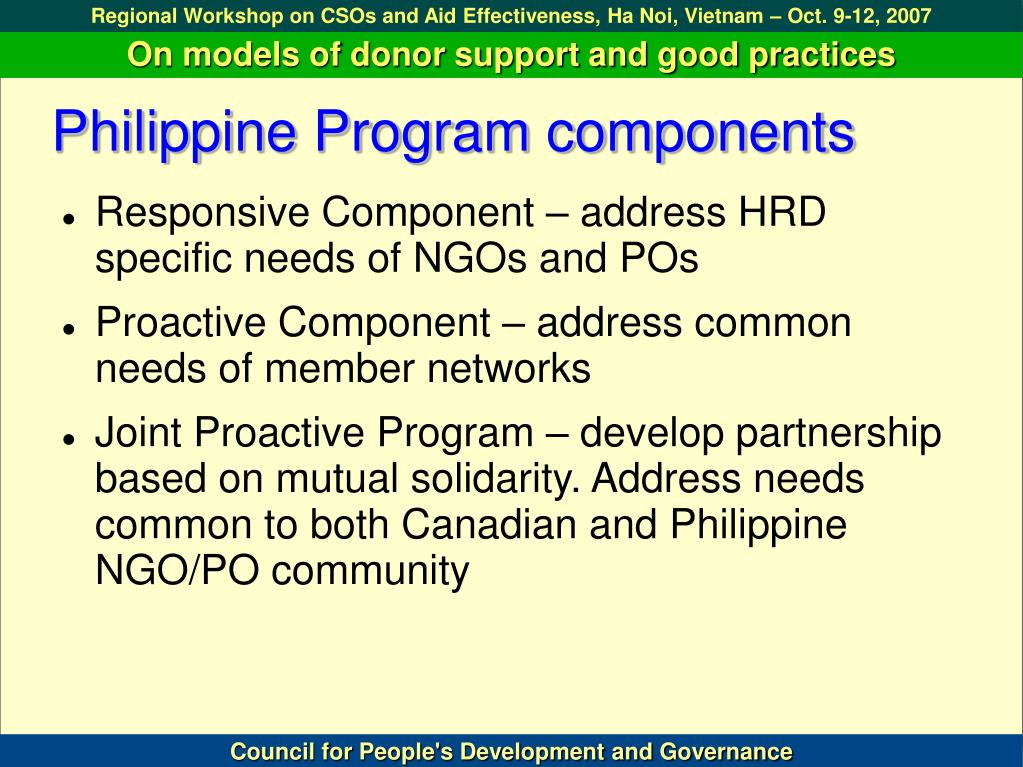 Philippine Program components