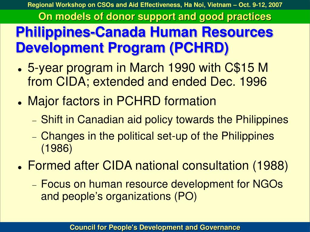 Philippines-Canada Human Resources Development Program (PCHRD)