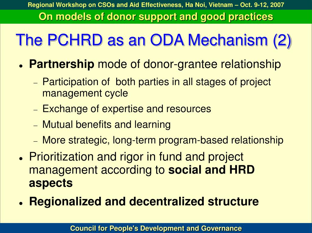 The PCHRD as an ODA Mechanism (2)