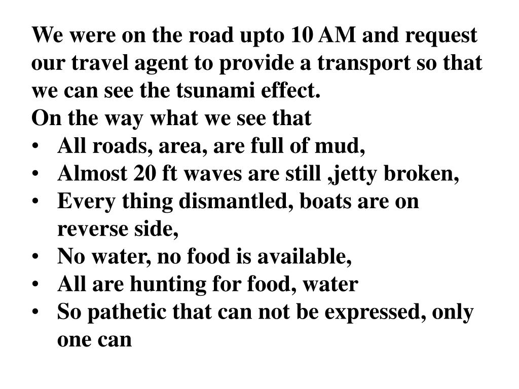 We were on the road upto 10 AM and request our travel agent to provide a transport so that we can see the tsunami effect.