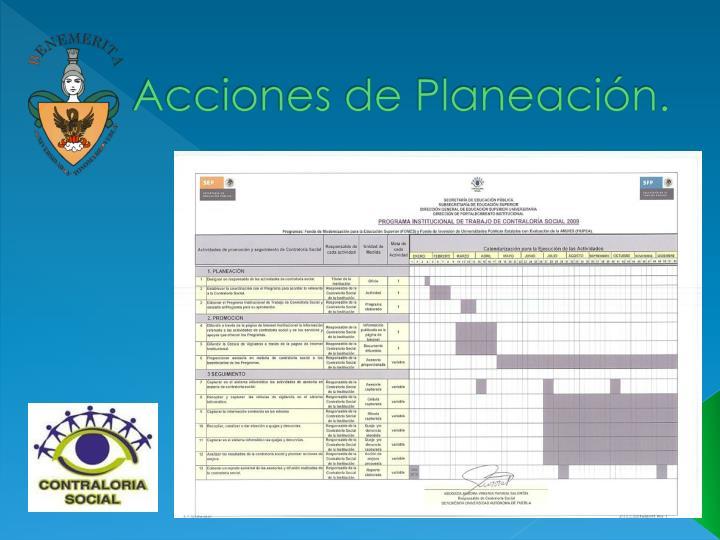 Acciones de Planeación.