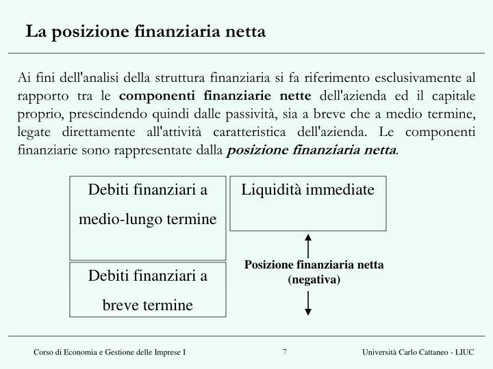 La posizione finanziaria netta