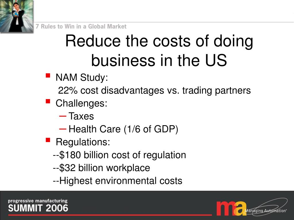 Reduce the costs of doing business in the US