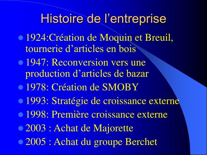 Histoire de l'entreprise