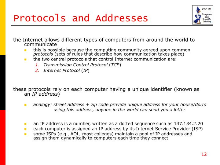 Protocols and Addresses