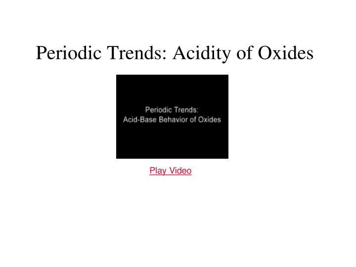 Periodic Trends: Acidity of Oxides