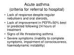 acute asthma criteria for referral to hospital
