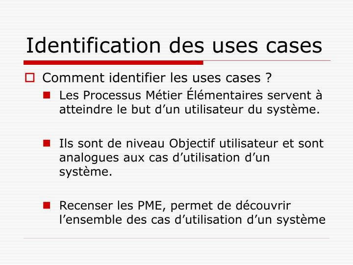 Identification des uses cases