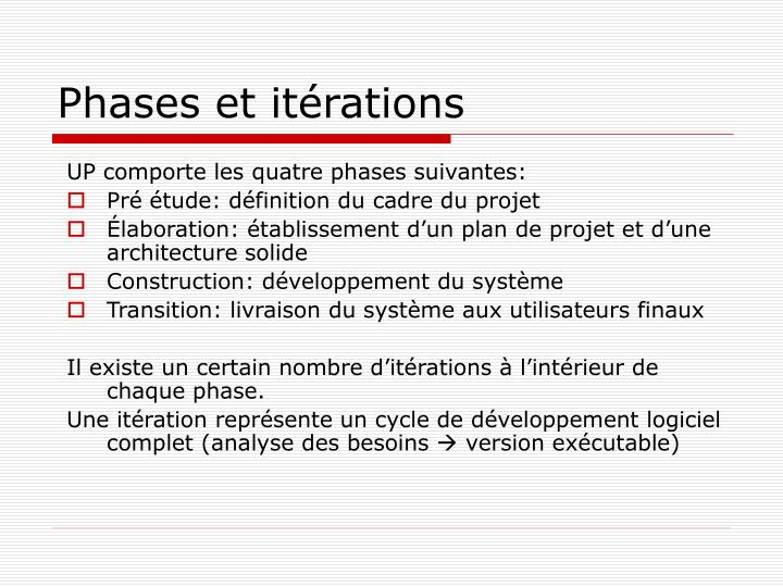 Phases et itérations