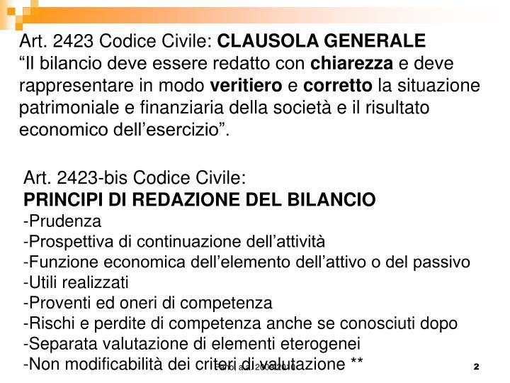Art. 2423 Codice Civile: