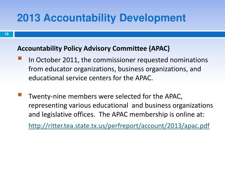 2013 Accountability Development