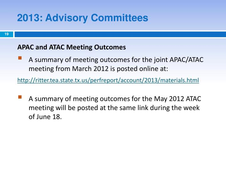 2013: Advisory Committees