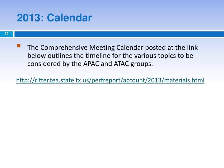 2013: Calendar