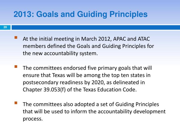 2013: Goals and Guiding Principles