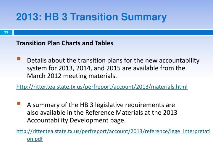 2013: HB 3 Transition Summary