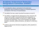academic achievement distinction designations committee aaddc