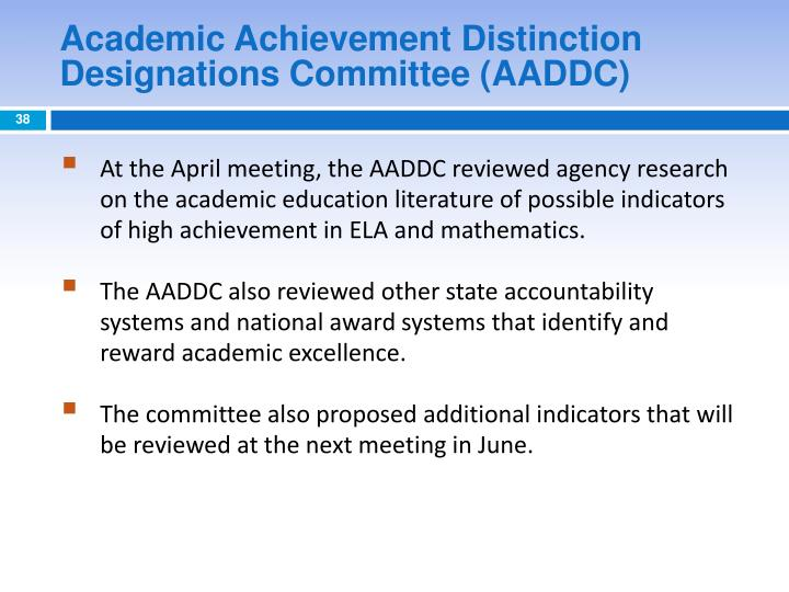 Academic Achievement Distinction Designations Committee (AADDC)