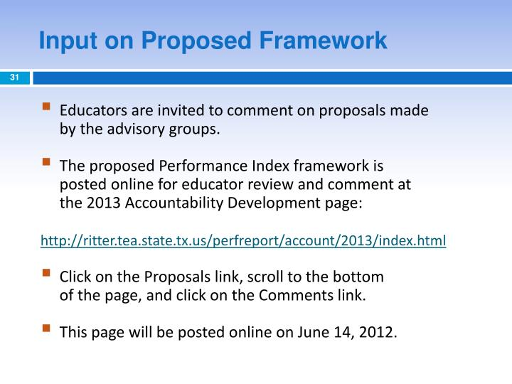 Input on Proposed Framework