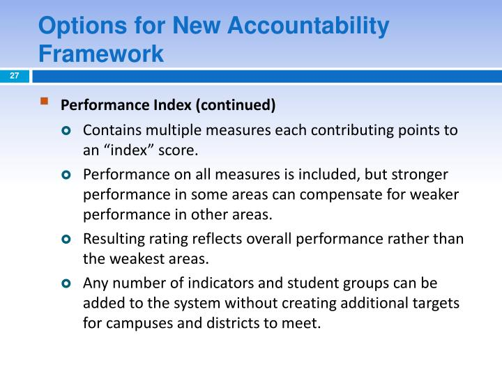 Options for New Accountability Framework