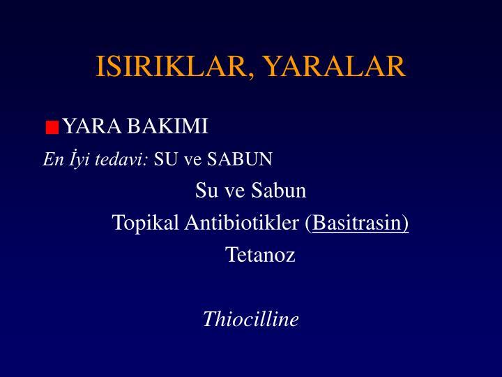 ISIRIKLAR, YARALAR