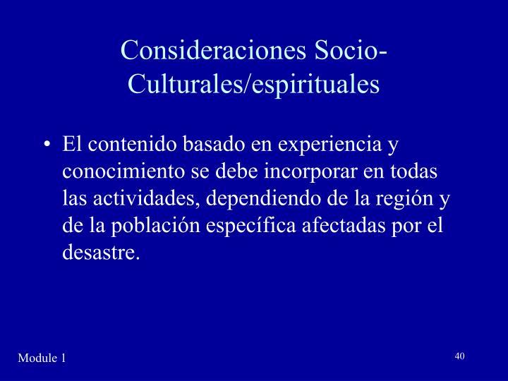 Consideraciones Socio-Culturales/espirituales