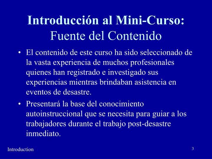 Introducción al Mini-Curso: