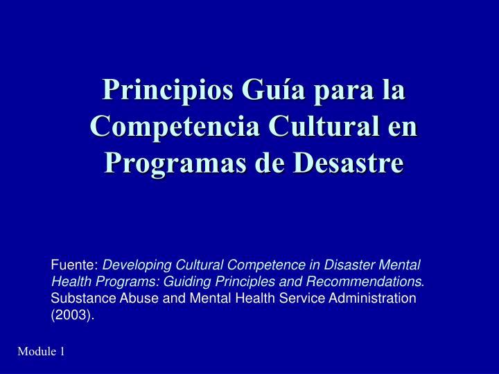 Principios Guía para la Competencia Cultural en Programas de Desastre