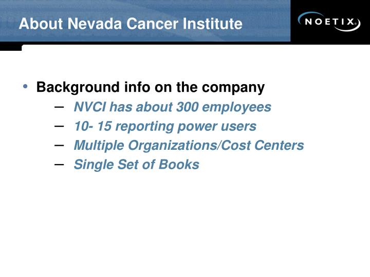 About Nevada Cancer Institute