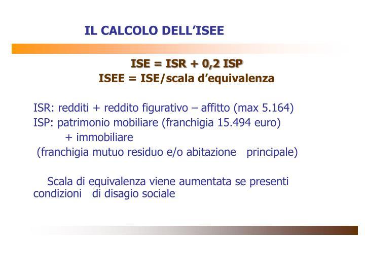 IL CALCOLO DELL'ISEE