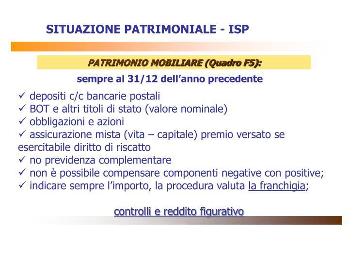 SITUAZIONE PATRIMONIALE - ISP