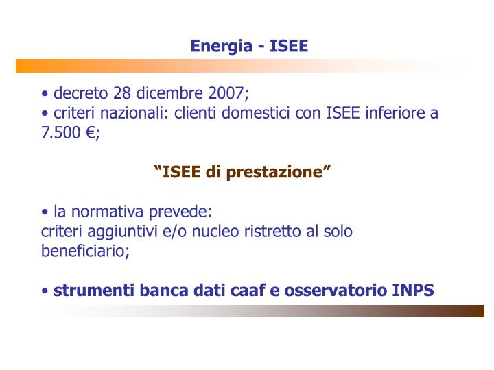 Energia - ISEE